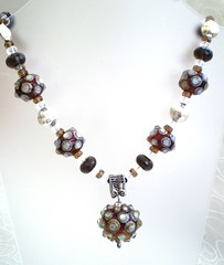 Revelationary Necklace (LushLampwork) Tags: uk brown glass silver necklace beads shiny handmade malvern lush lampwork juliefountain lushlampwork