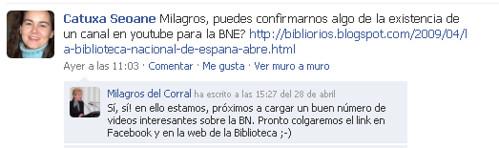 Milagros del Corral confirma la intencion de crear un espacio en Youtube para la BNE