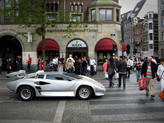 Zebra Crossing (Vineyards) Tags: people amsterdam speed grey trafficlight replica lamborghini countach sportscar zebracrossing dedam fastcar bertone diamondcenter marcellogandini wedgeshaped midenginedesign