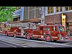 False Alarm 1 - HDR (David Gn Photography) Tags: oregon photoshop truck portland downtown firetruck vehicle fireengine hdr photomatix 3exp topazadjust canonpowershotsx1is portlandfireandrescue