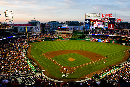 At the Nationals game vs. the Orioles. This is some wonderful evening light over the stadium.