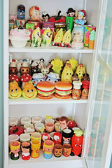 Kitchen Curio (boopsie.daisy) Tags: cute kitchen vintage pepper corn colorful candy faces cabinet salt kitsch bananas stuff carrot veggies anthropomorphic curio eggcups eggholders