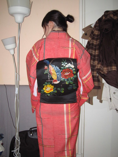 Raspberry Striped Wool Kimono