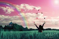 The land of milk and honey. (Pink Pixel Photography (f.k.a. Sunny)) Tags: selfportrait rainbow butterflies pinksky wonderlan landofmilkandhoney hppt happyprettypinktuesday thisweeksthemeprettypinktopia thisishowmyworldlookslike pinkpixel apixelisnotasmallsquare andavoxelisnotalittlecube ifakedmyhaird wiendiestadtwomilchundhonigfliessen österreichdaslandwomilchundhonigfliessen
