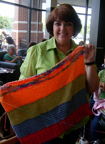 Volunteer Knitter at Charlotte WWKIP Day