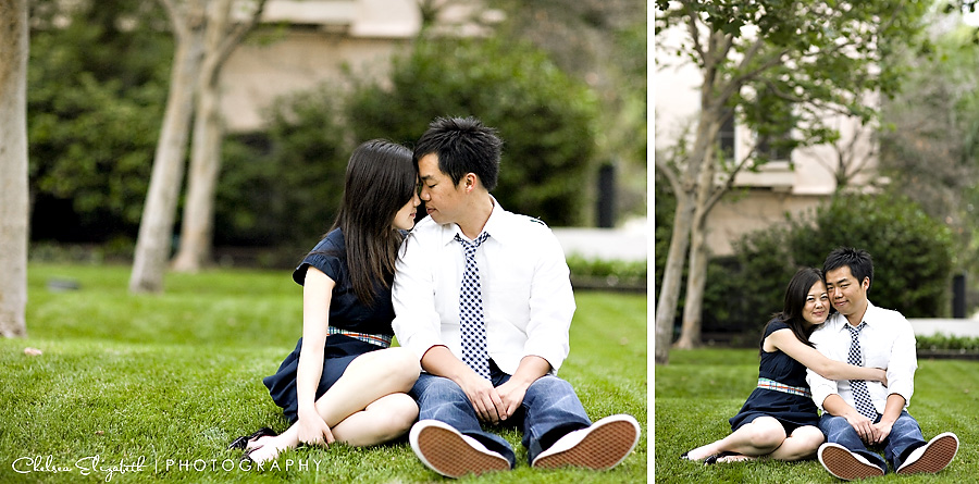 sitting on the grass pasadena engagement session