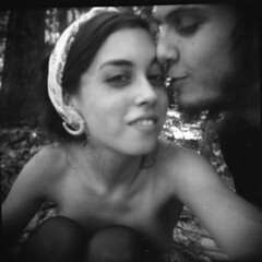 (salad.days.) Tags: trees boy blackandwhite bw 120 film girl forest mediumformat outdoors holga woods young newhampshire kisses happiness nudity pawtuckaway fallinginlove holgacfn