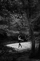 One Dance to Remember (amandanpowell) Tags: trees blackandwhite ballet texture girl leaves outside dance ballerina rocks dancer leotard