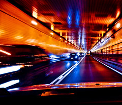DrivingInColor (wesbs) Tags: road pink blue light red orange blur color green cars lines car yellow speed lights movement nikon driving purple traffic vibrant perspective violet vivid tunnel reflect inside swirl headlight bestcapturesaoi wesbs