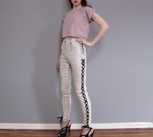 vintage 80's acid wash lace up jeans