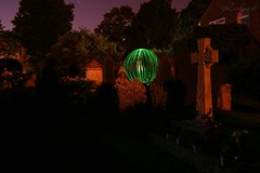Light Painting (Richard Cowdrey) Tags: light lightpainting green grave graveyard night canon painting circle eos orb hampshire spooky havant 400d richardcowdrey