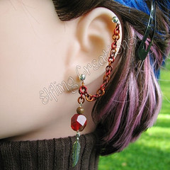 Red, brown, orange cartilage chain earring - Messenger's Feather