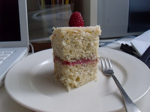 Lemon Poppy Seed Cake with Raspberry Curd Filling