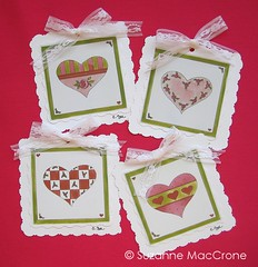 Heart to Heart Valentine Tags (Suzanne MacCrone Rogers ~ Italian Girl in Georgia) Tags: pink red roses white green love girl pen ink paper georgia hearts cards gold italian lace stripes tags watercolour ribbon lime etsy dots gouache kiwi bows organza checks mille scalloped feste cmwdpink