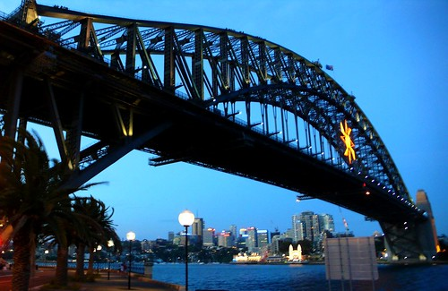 the harbour bridge at nightfall, sydney