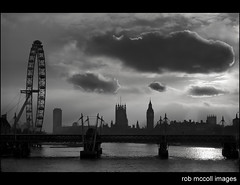 London Silhouette (rob mccoll) Tags: city uk travel bridge shadow england bw london tourism water westminster silhouette thames skyline architecture clouds contrast train canon river mono flickr european ray cityscape shadows cloudy euro capital gothic housesofparliament rail railway londoneye parliament bigben tunnel nopeople waterloo locomotive riverthames tone embankment touristattraction hungerfordbridge railwaybridge downingstreet eurotunnel waterloobridge arcchitecture traveldestination flickrsbest anawesomeshot goldstaraward