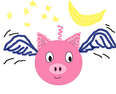 piggy flying at night by TS