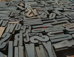 A Whole Mess of Letters (Funkomaticphototron) Tags: wood metal ink j d w 4 letters s stamp used v r u printing backwards blocks movabletype hugecrapshow coryfunk