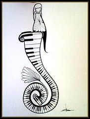 Piano Keys Tattoo (sherrisink) Tags: tattoo illustration ink butterfly keys toy photobooth drawing piano fairy pens whimsical sherri dupree rapidograph
