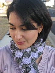 crochet purple gray scarf