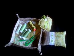 Bandeja para linhas (Casa al mare) Tags: verde green heart corao pincushion portaagulhas sach alfineteiro casaalmare bandejaparalinhas