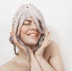 Day 298/365: Miss O. Donning an Octopus (Olga Sotiriadou) Tags: selfportrait photomanipulation photoshop squares explore sp tips octopus 365 imagemanipulation highfashion 366 500x500 project365 fgr 365days explored 2removecarpet 1coveryohairwithplasticmembrane 3haveplentyoftissuehandy 4enjoythemomentreally theoctopusisdinnernow inredwinesauce