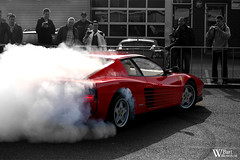 Ferrari Testarossa (Bart Willemstein) Tags: red white black cars netherlands coffee out rotterdam nikon smoke d70s bart ferrari cc burn donut coloring nikkor selective testarossa 55200 explored bartnega