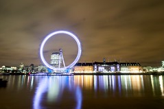 London Eye (ben matthews :::) Tags: wheel thames night clouds digital nikon long exposure south bank millenium embankment saatchi