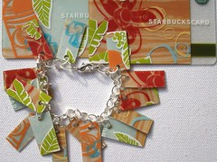 Tea Time Bracelet (Jupita) Tags: red green recycled tan jewelry starbucks wearableart repurposed upcycled starbuckscard trashion jupita plasticgiftcard recycledgiftcard plasticcardjewelry