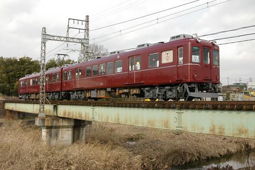 Kintetsu860series(maroon) in Kuwamachi,Iga,Mie,Japan 2009/2/11