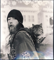 """Dirty"" (parade in the sky) Tags: sanfrancisco film cat mediumformat print homeless dirty scan yashica"