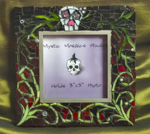 Dia de los Muertos Stained Glass Mosaic Photo Frame
