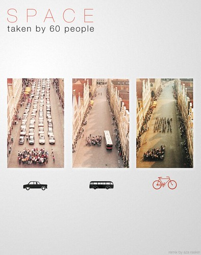 Cars, Bus, Bikes: The Space Taken by 60 People by azaraskin.