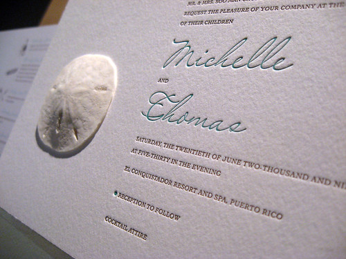 Sand Dollar Letterpress Invitation - Invite Closeup