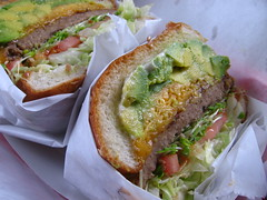Avocado and Cheddar burger