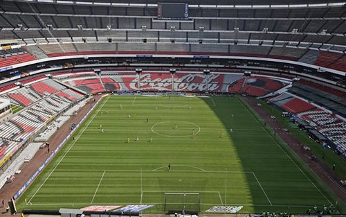 Estadio Azteca (Aztec Stadium) in Mexico City -- come on Pepsi!!!  Get on the ball here!  Look at all that advertising... for people in planes or blimps???