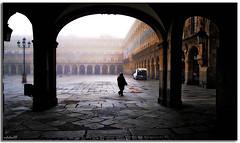 Salamanca, plaza mayor, 2008 (manuel holgado (mholm)) Tags: arquitectura agua searchthebest personas urbano salamanca niebla siluetas solos geometrias fivestarsgallery mholm planogeneral bratanesque plazamayorsalamanca