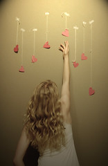 (Eclectic-Photography) Tags: lighting portrait love up look wall self paper out one for is waiting arms heart little reaching year yarn just more tape desaturation annie only string while reach noise longer