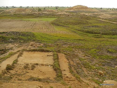 Pyramids across the fields