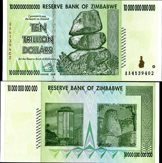 10 trilión dolárov Zimbabwe 2008