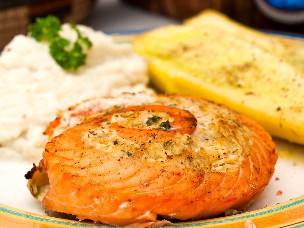 Crab-stuffed salmon dinner