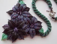 Moonlit Bloom Beaded Art Necklace (fivefootfury) Tags: flower floral moonlit blooms darkforest darkflowers