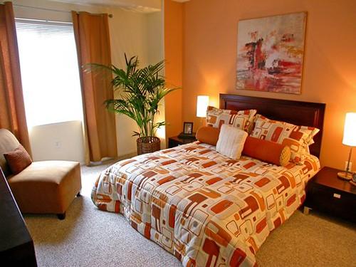 Elegant Orange Bedroom with naturally design