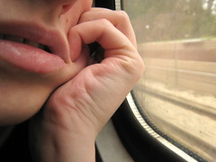 And all the things we have not said, are only taking space up in our heads (leore joanne) Tags: selfportrait window train mouth teeth fingers lips squishing