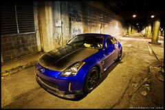 Hector's Nissan 350z (jeremycliff) Tags: longexposure blue cliff chicago night japanese mya alley nissan creative fast jeremy 350 z lower carbon custom fiber studios 350z cf jdm wacker jeremycliff chicagozcom myacreativecom hecticz