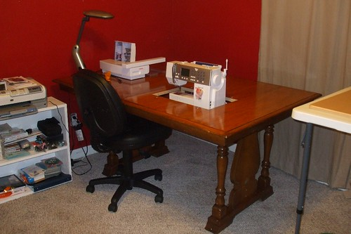 sewing table out of a dining table