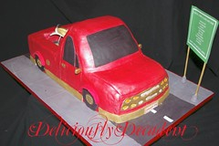 red luxi (Deliciously Decadent (Taya)) Tags: road birthday street red car sign cake truck gold ute motorbike dirtbike