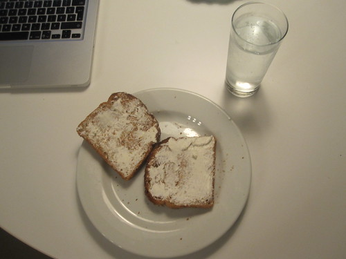 Toasts with cream cheese, lemon Perrier