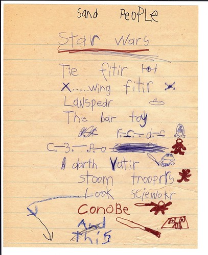 My Son's Actual Illustrated Christmas Wish List for Star Wars Toys - 1977
