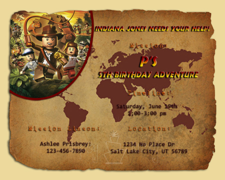 lego indiana jones birthday invitation